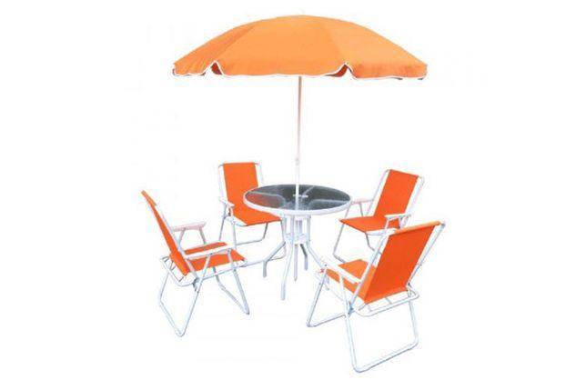 Mobilier de grădină portocaliu / alb Arusa - Set mobilier grădină
