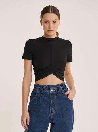 Tricou drapat cu nod încrucișat negru H&M Knotted Crop top