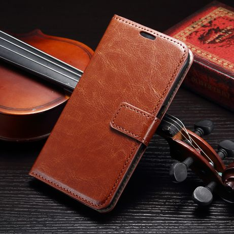 Husa Samsung S7 Edge, piele fina tip portofel, negru, maro cognac