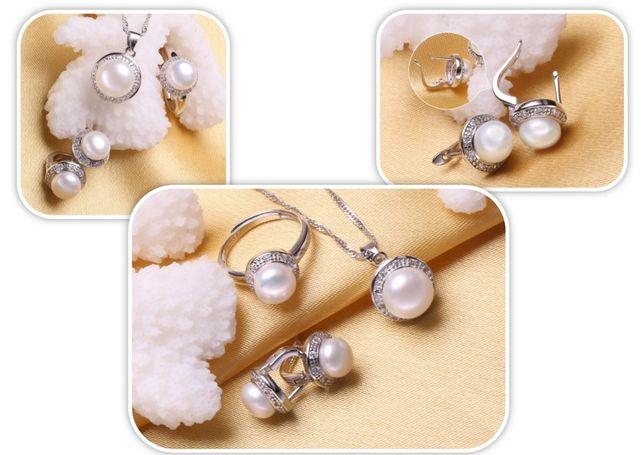 Set argint mireasa cu perle naturale si zirconiu