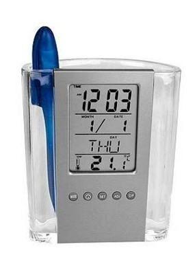 Ceas LCD Auriol,cu suport de pixuri,afiseaza temperatura,ora,data,ziua