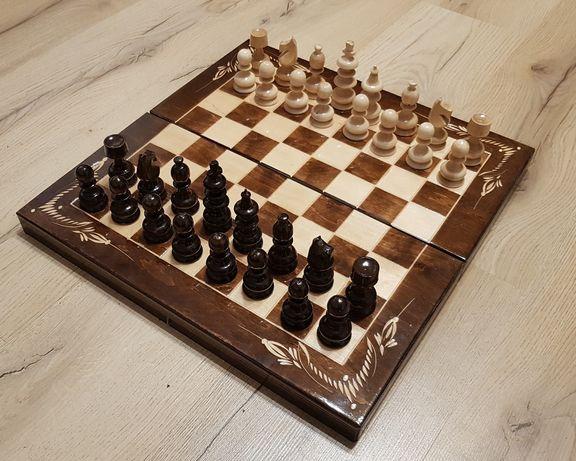 Joc Sah si Table din Lemn Lucrat Manual, 44x44 cm