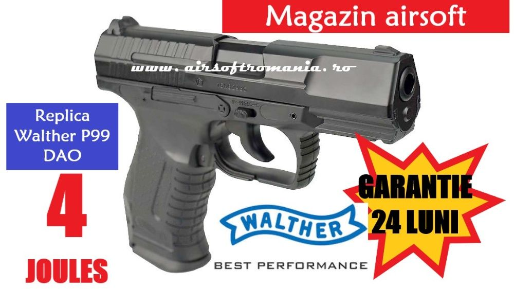 Pistol Walther P99 DAO-CO2-putere 4 Joules- AIRSOFT/ recul puternic Bucuresti - imagine 1