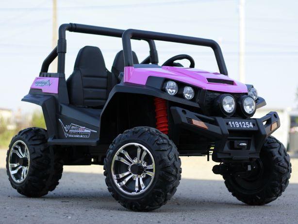 UTV electric pentru 2 copii Golf-Kart 4x 45W 2x12V cu Bluetooth #Roz