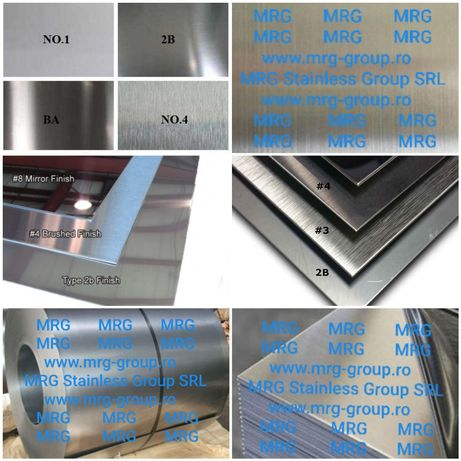 Tabla inox 1mm lisa oglinda satinata Scotch Brite aluminiu cupru alama