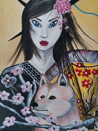 Картина Японка с куче