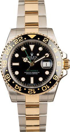 Часовник Rolex GMT Master ll Black Dial Steel & 18К Yellow Gold