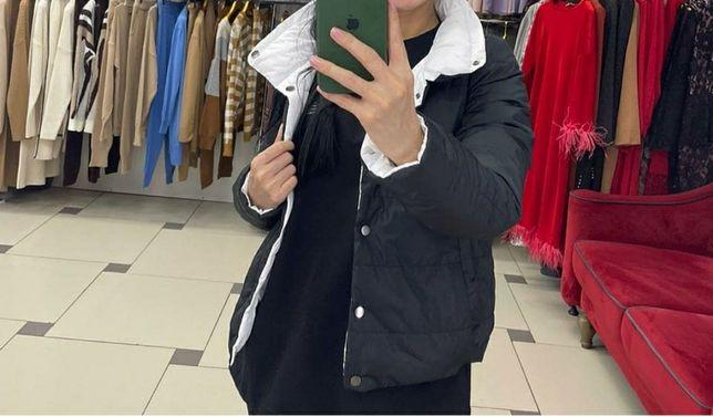 Новая двухсторонная куртка черно белая