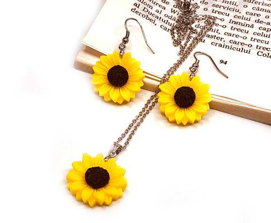 Set cercei si pandativ cu floarea soarelui