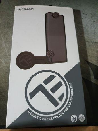 Suport magnetic de telefon pentru ecran laptop Tellur MDM, Negru