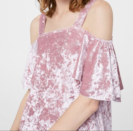 Rochie noua de catifea roz Mango