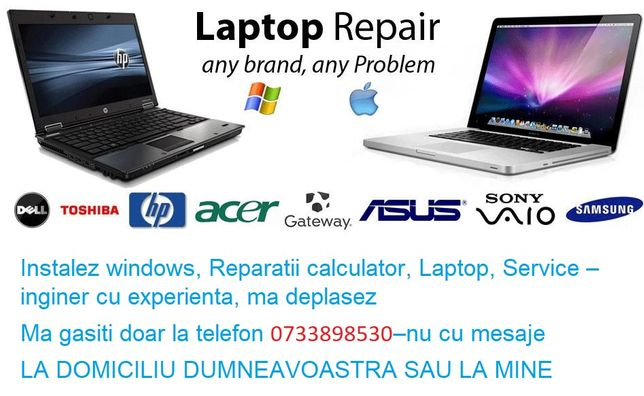 Instalez windows, Reparatii calculator, Laptop, Service –inginer cu ex