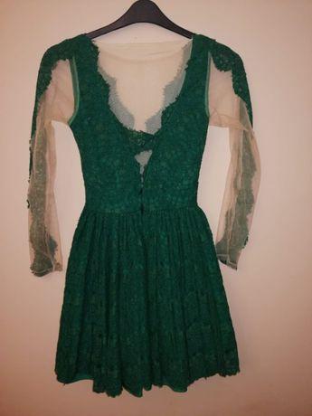 Rochie verde din dantela si tull fin