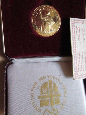 Папа 1 посещава Канада позлатен Медальон с Серитификaт за идентичност