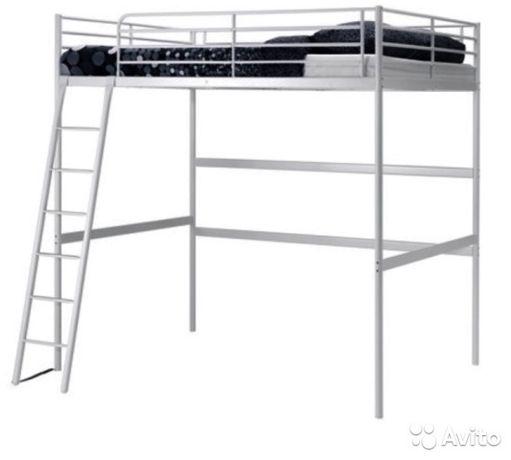 Кровать-чердак двухспальная с ортопедическим матрасом СВЭРТА IКЕА