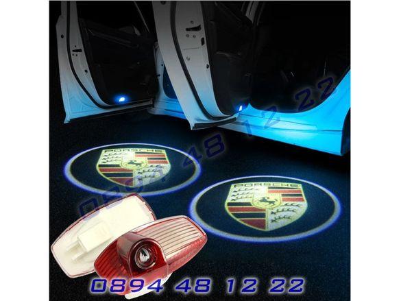 ЛЕД Светещо Лого Проектор Врата Автомобил Кола Проектори Porsche Порше