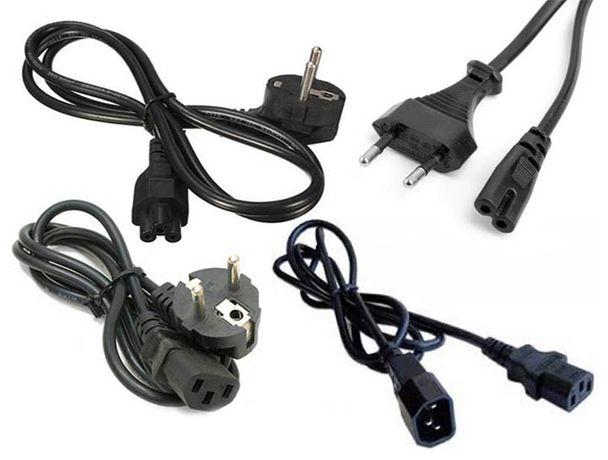 разные с вилкой и разъёмом сетевые кабеля шнуры для блоков питания на