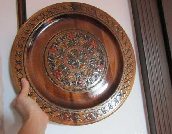 plate lemn cu insertii metalice aurii, made Germany-cadou inedit