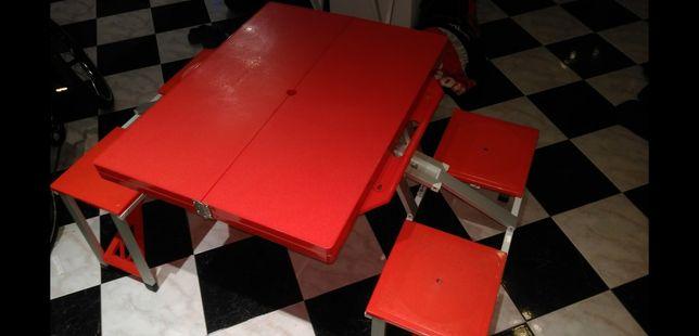 MASA CAMPING plianta, practica cu 4 scaune aluminiu/plastic NOUA