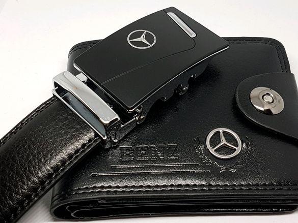БМВ/Мерцедес 2в1 Мъжки Колан с автоматично закопчаване+портфейл с лого