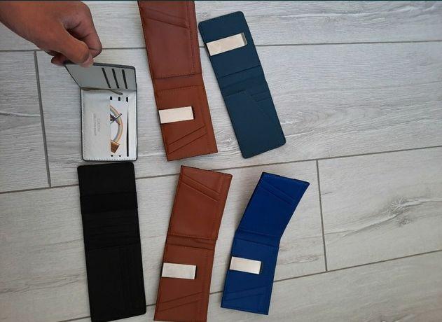 Мужские портмоне,  бумажник с зажимом , зажим