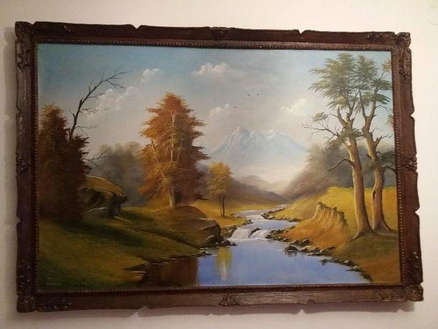 Tablou pictura in ulei pe panza 110/159 cm semnat