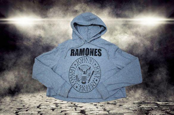 Ramones • дамски скъсен суитшърт с качулка - М