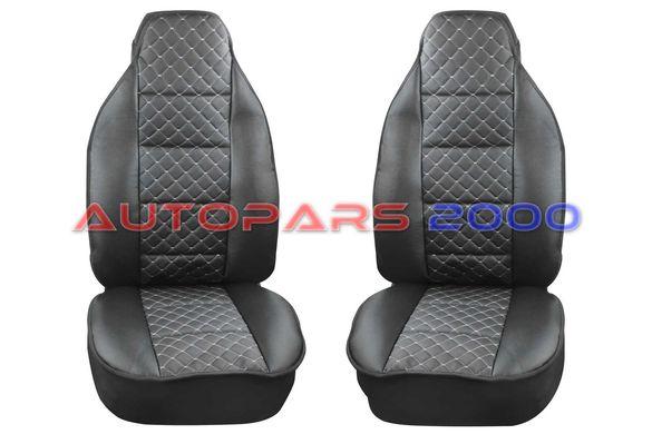 Калъфи за предни седалки тип Масажор S STYLE / Черно с бял шев