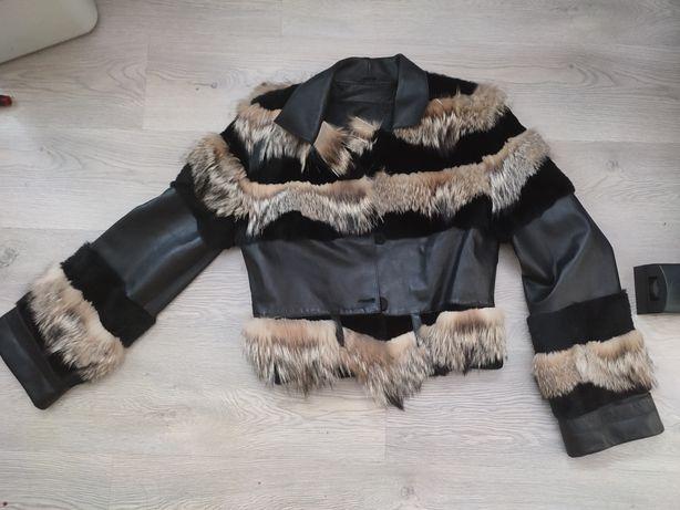 Куртка кожаная, телячья кожа натуральный мех