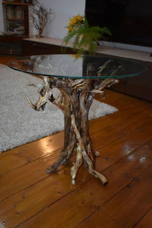 Masă din lemn natur si sticlă