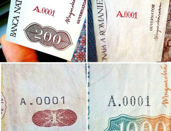 4 diferite x seria A.0001 - Romania / Moldova 1 + 200 + 500 + 1000 Lei