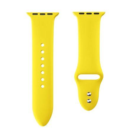 Силиконова каишка за Apple Watch - 38, 40, 42, 44 мм - жълта, Yellow
