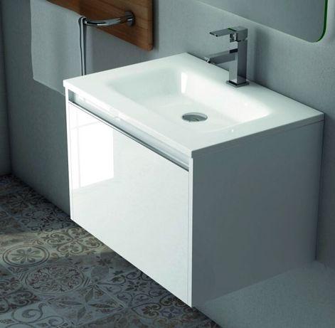 Mobilier de baie 60 cm alb lăcuit