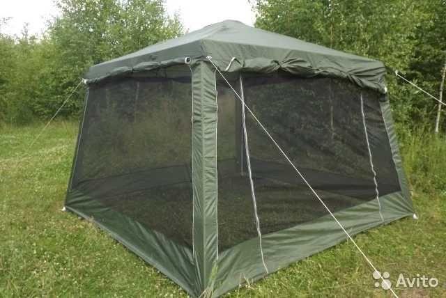 1628 Палатка шатер стальные дуги большая компания 3-6 чел без пола