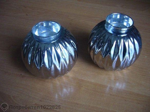 Комплект посребрени свещници за декорация