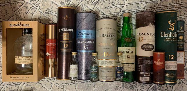 Коллекция бутылок из под виски (с коробками/тубами и без) 48 шт.