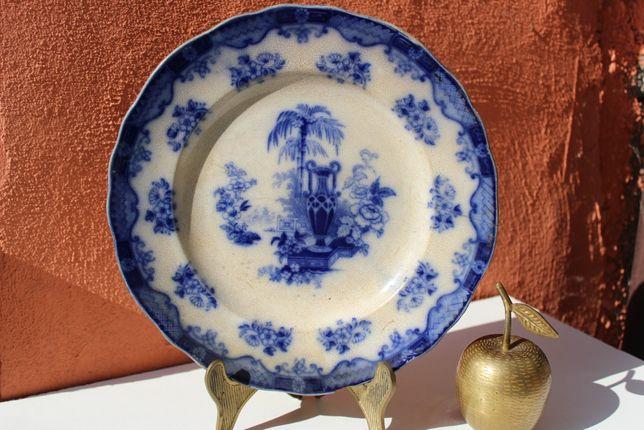 Farfurie portelan de colectie ARCADIA - FLOW BLUE, Anglia secolul 19