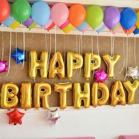 Балони букви надпис HAPPY BIRTHDAY златни - големи 40 см
