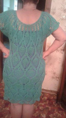Продаю платье бирюзового цвета ручной работы, связанное крючком