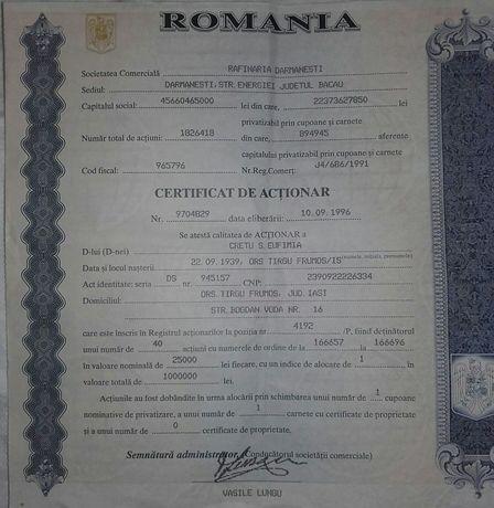Lot 2 x certificat actionar 40 actiuni Rafinaria Darmanesti Bacau