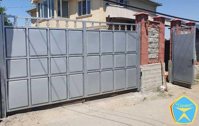 Усиленные ворота распашные, откатные, заборы из профнастила, установка
