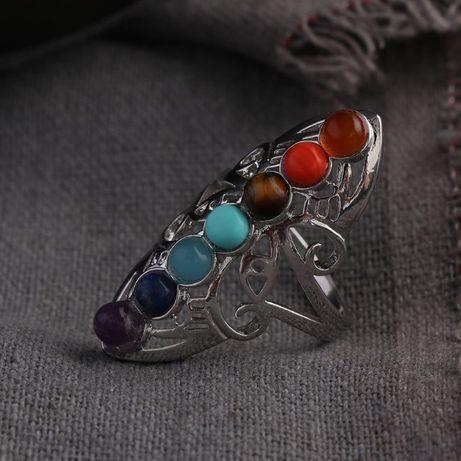 """Пръстен от Тибетско сребро """" 7 Чакри"""" - регулиращ се"""