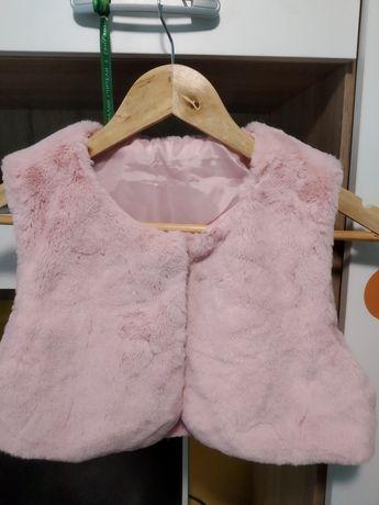 Къс плюшен елек- розов за 7 годишни