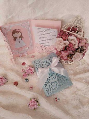 Покана за кръщене, сватба или друг повод, комплекти за кръщене,ангели