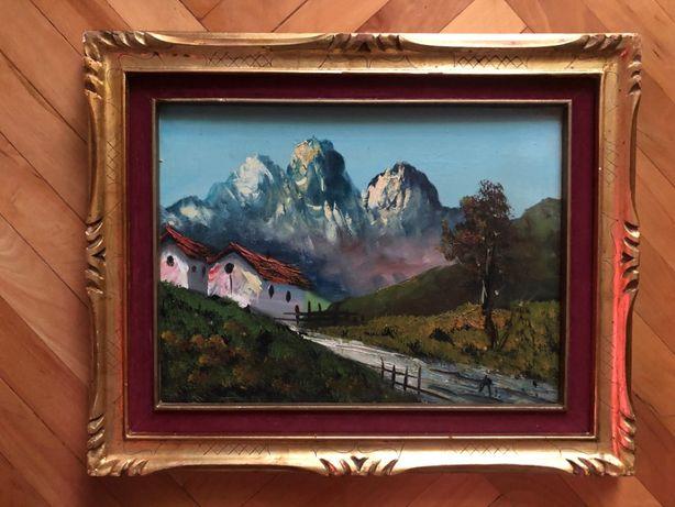 Tablou,pictura in ulei pe panza,peisaj alpin Austria,Tirol