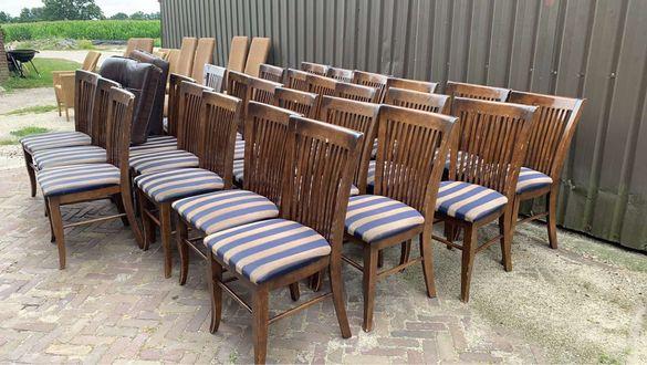 Масивни дървени столове с подплата 24бр