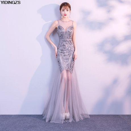 Rochie/rochita eleganta argintie voal și paiete noua- Reducere