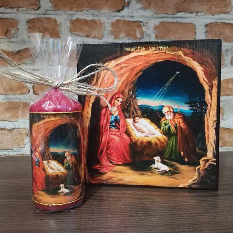 Икона + свещ Рождество Христово icona Rojdestvo Hristovo