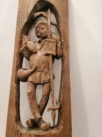 Statuetă, tablou sculptat, sculptură în lemn 68-22cm.