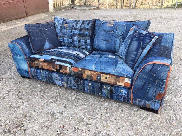 Поръчков дънков диван